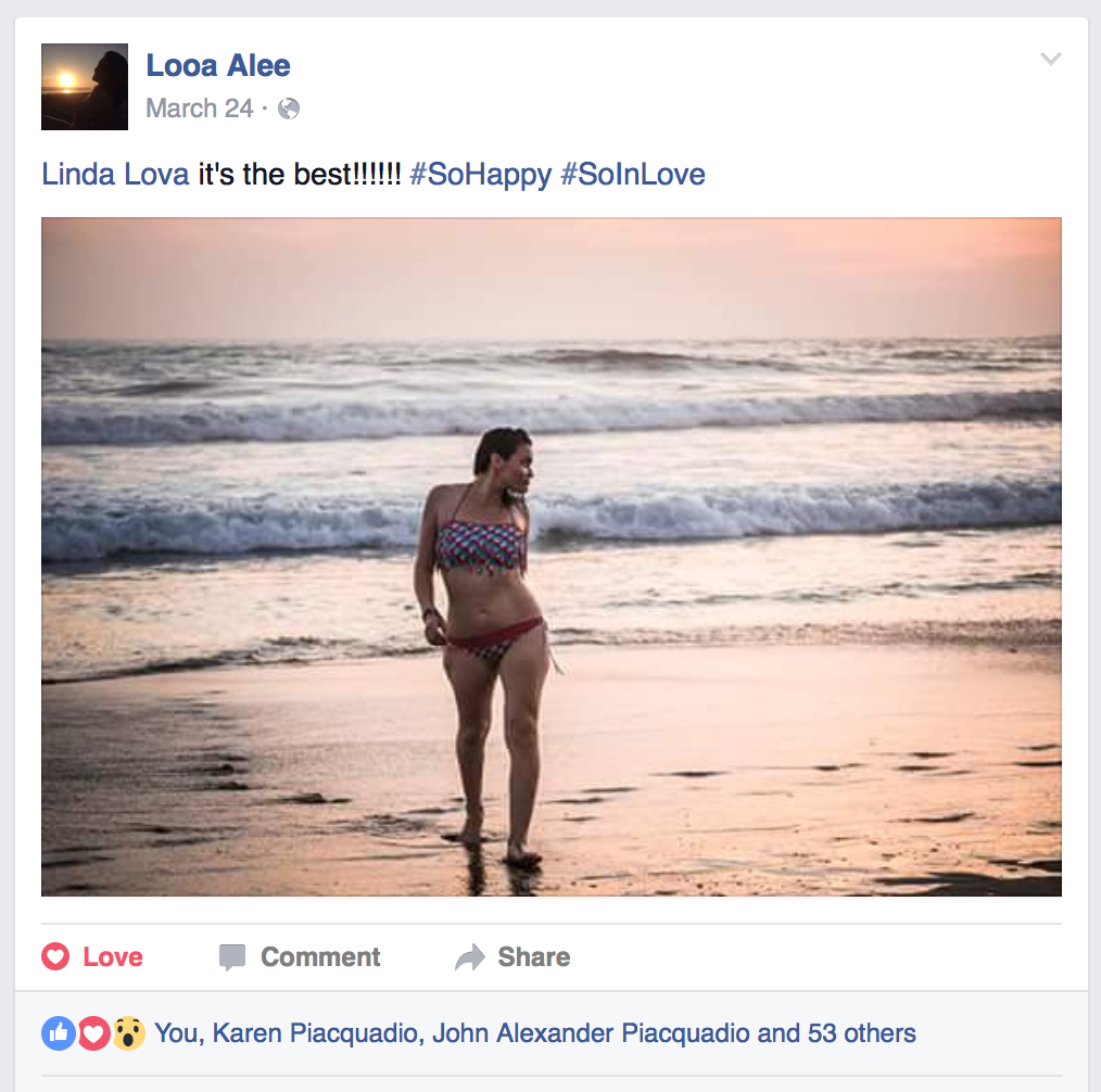 Alee Testimonial | Facebook Screen Shot | About LovaLinda Photography